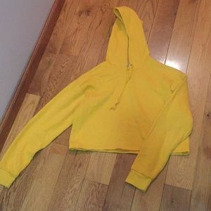 Mustard yellow cropped H&M hoodie